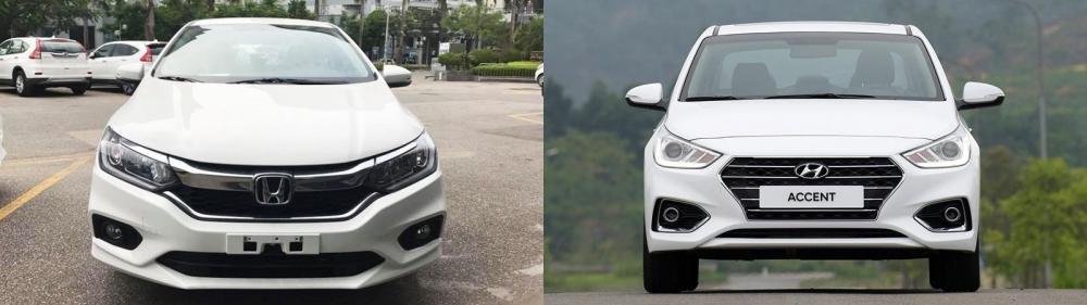 So sánh xe Honda City 1.5 TOP và Hyundai Accent 1.4 AT đặc biệt về đầu xe