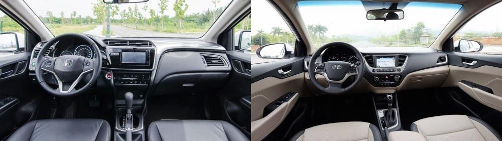 So sánh xe Honda City 1.5 TOP và Hyundai Accent 1.4 AT đặc biệt về khoang cabin