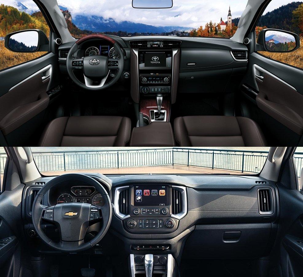 So sánh xe Toyota Fortuner 2.7V 4x4 2018 và Chevrolet Trailblazer 2.8L LTZ AT 4x4 2018 về khoang cabin 1