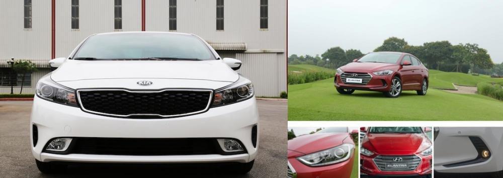 So sánh xe Hyundai Elantra 2.0AT 2018 và Kia Cerato 2.0L 6AT 2018 về đầu xe.