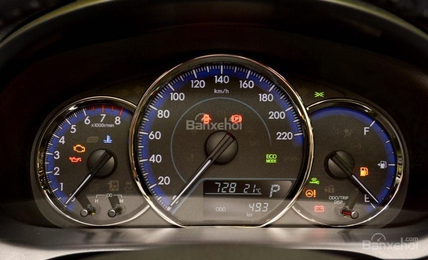 Đánh giá xe Toyota Vios 2018: Cụm đồng hồ.