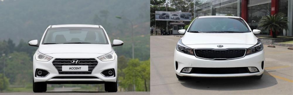 So sánh xe Hyundai Accent 1.4 AT 2018 hay Kia Cerato SMT 2018 về đầu xe.