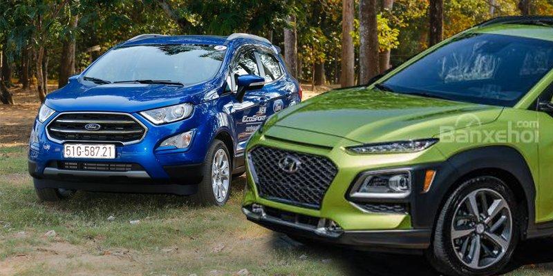 So sánh Hyundai Kona 2018 và Ford Ecosport 2018: Liệu tân binh có đủ chiến thắng lão làng?. So sánh xe Hyundai Kona 2018 và Ford Ecosport 2018: SUV 600 triệu nào tốt nhất?.