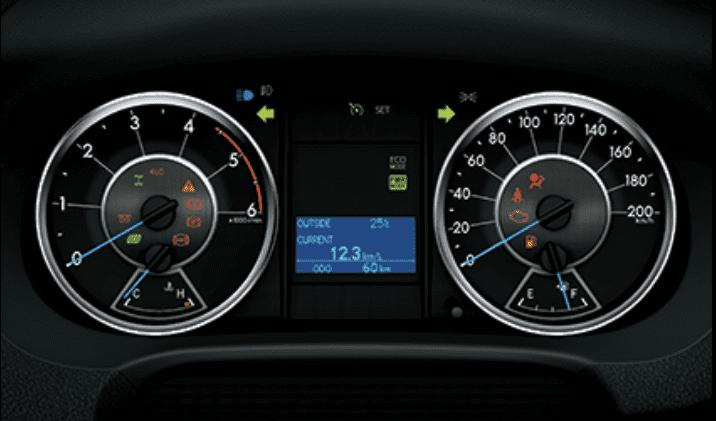 Đánh giá xe Toyota Fortuner 2018 máy dầu số tự động 2 cầu 2.8V 4x4 AT: Đồng hồ lái