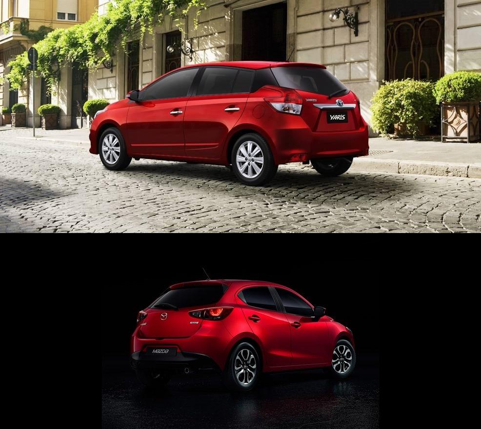 so sánh xe Toyota Yaris G 2018 và Mazda 2 2018 hatchback về đuôi xe 1