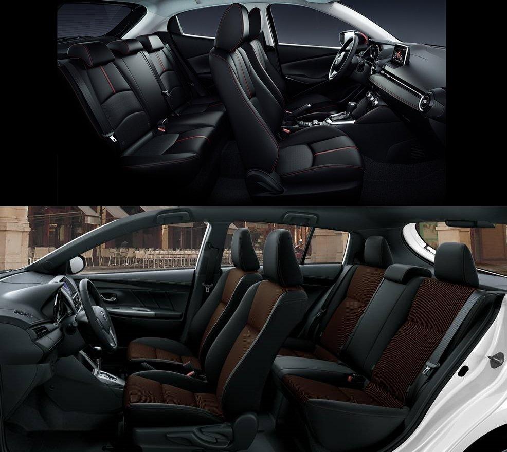 so sánh xe Toyota Yaris G 2018 và Mazda 2 2018 hatchback về ghế ngồi 1.