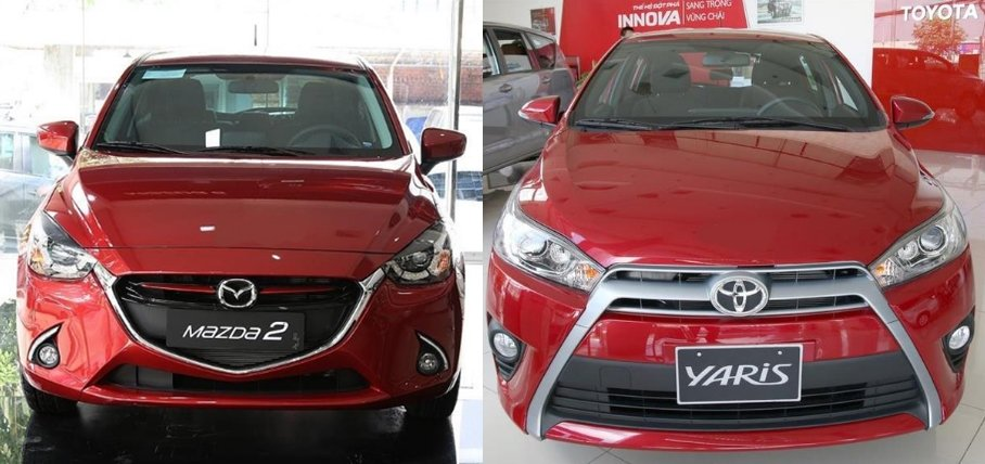 so sánh xe Toyota Yaris G 2018 và Mazda 2 2018 hatchback về đầu xe 1.