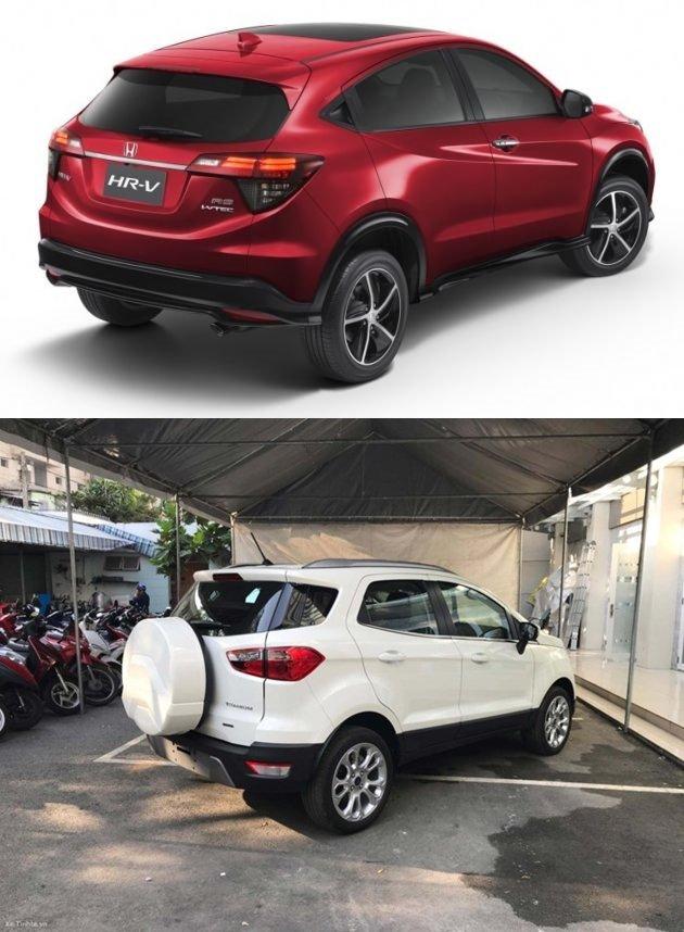 So sánh xe Honda HR-V 1.8L 2018 và Ford Ecosport Titanium 1.0L EcoBoost 2018  về đuôi xe 1.