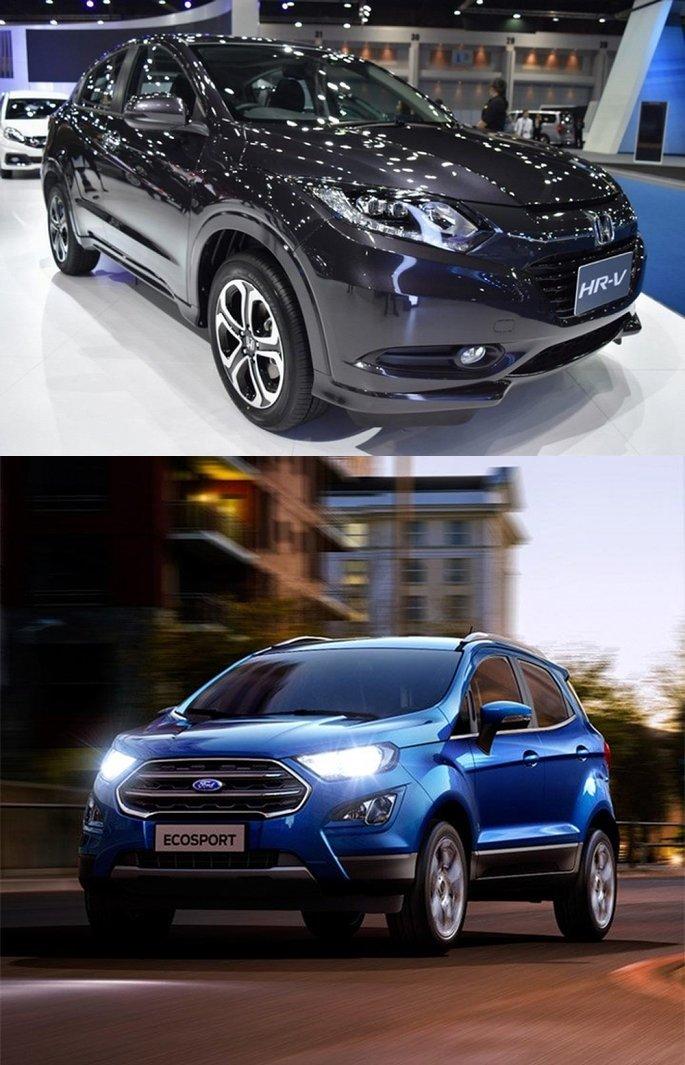 So sánh xe Honda HR-V 1.8L 2018 và Ford Ecosport Titanium 1.0L EcoBoost 2018  về đầu xe 1.