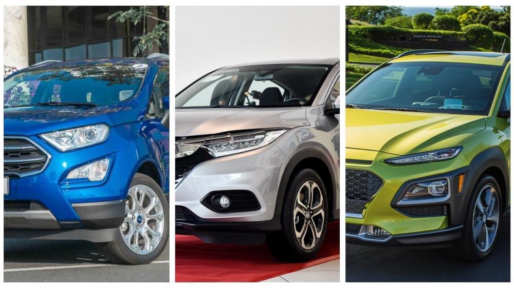 So sánh thông số Ford Ecosport, Honda HR-V và Hyundai Kona 2018.