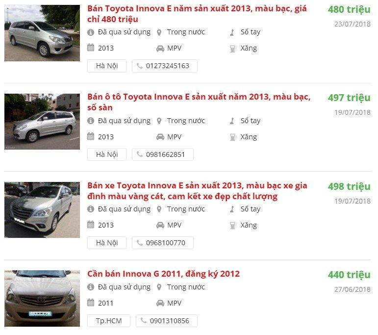 Chọn mua xe Toyota Innova cũ trong tầm giá 500 triệu như thế nào?.