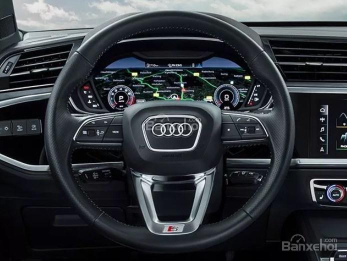 Đánh giá xe Audi Q3 2019: Vô lăng bọc da.