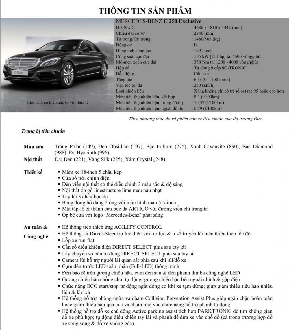 Thông số kỹ thuật Mercedes-Benz C250 Exclusive ...
