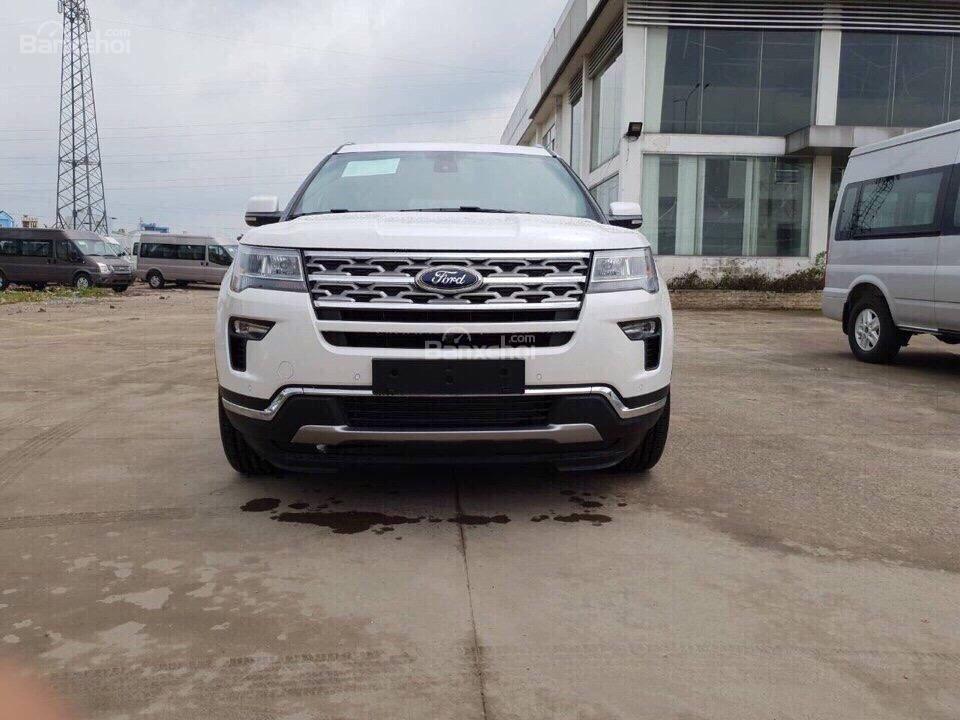 Bán ô tô Ford Explorer 2.3L Ecoboost Limited form 2018, màu trắng, xe nhập Mỹ, hỗ trợ thủ tục trả góp 80%-1