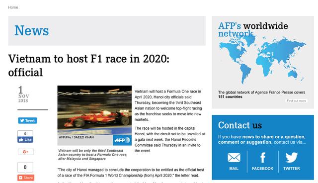 Đường đua F1 sẽ được tổ chức ở Việt Nam