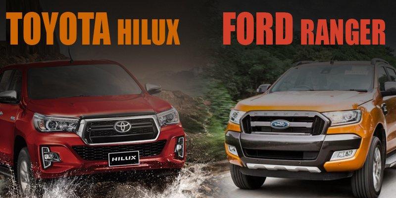 So sánh Ford Ranger 2019 và Toyota Hilux 2019: Nên chọn bán tải Mỹ hay Nhật?.