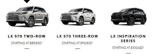 Giá bán của Lexus LX570 2019 tại Mỹ...