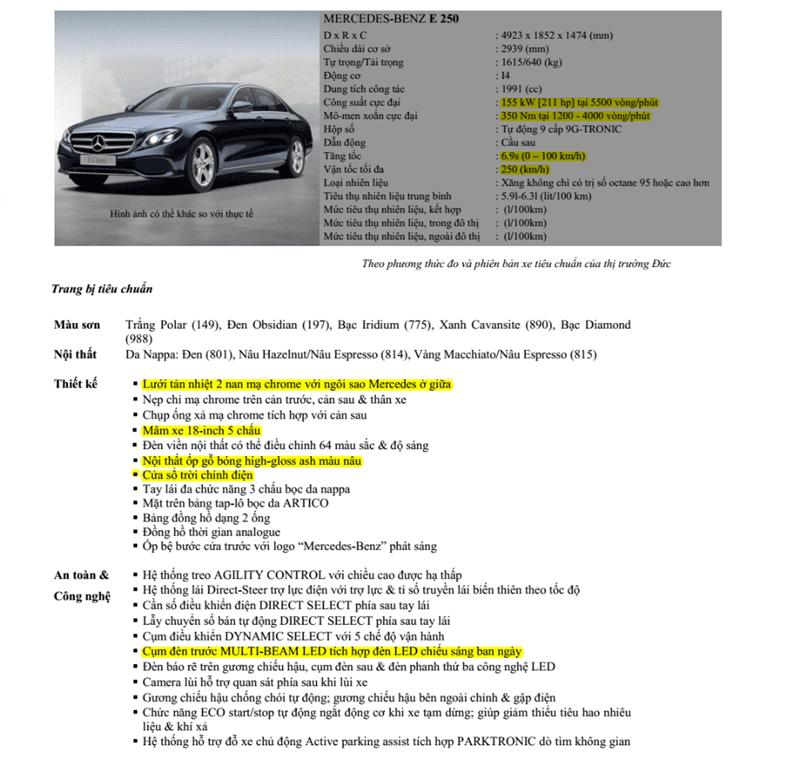 Bảng thông số kỹ thuật của Mercedes-Benz E250 2019 1