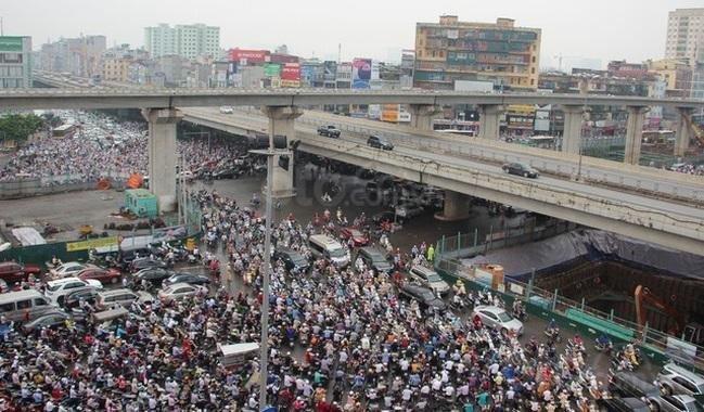 Hình ảnh tắc đường tại Hà Nội...