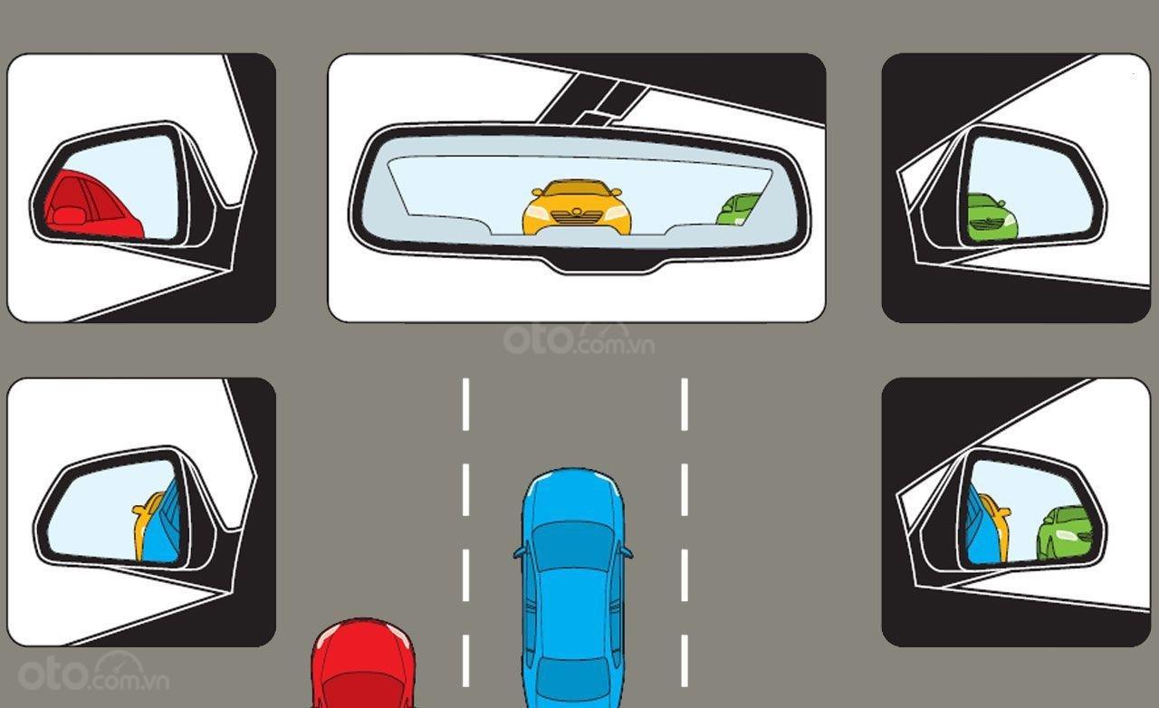 Cài đặt gương điểm mù sau khi chỉnh gương chiếu hậu hợp lý