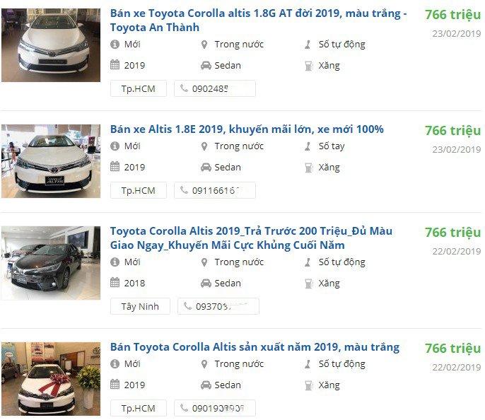 Thị trường ảm đạm, đại lý xuống giá Toyota Corolla Altis 2019 hơn 30 triệu đồng để kích cầu a14