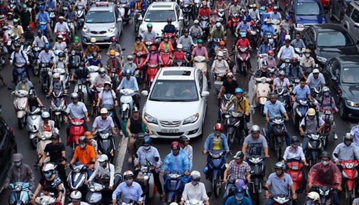 Cảnh tắc đường ở Hà Nội...