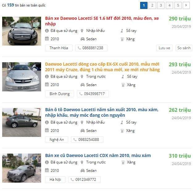 Thông tin rao bán xe Daewoo Lacetti 2010 trên Oto.com.vn...