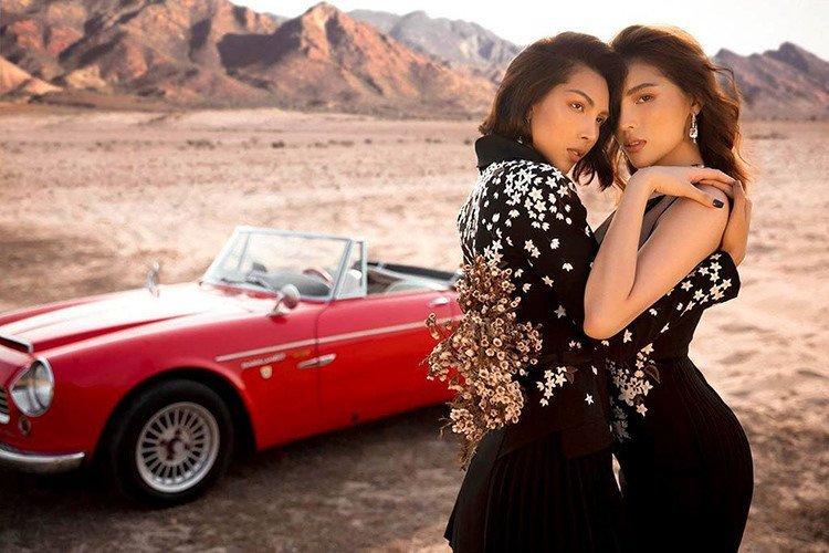 Người mẫu Minh Triệu và Hoa hậu Kỳ Duyên khoe sắc bên Datsun 1600 cổ điển - Ảnh 1.