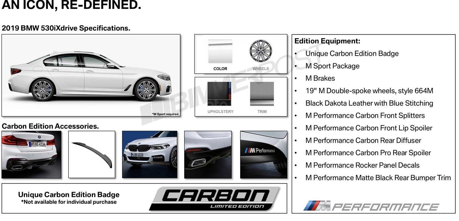 BMW 5-Series Carbon Edition 2019 trở nên bắt mắt hơn nữa