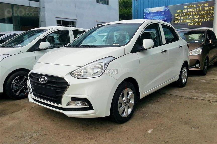 Hyundai Grand I10 Sedan trắng lấy xe ngay chỉ với 130tr, lãi suất chỉ 0.75%/ tháng, hỗ trợ đăng ký Grab. LH: 0903175312-2