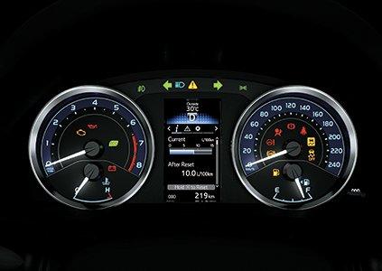 Đồng hồ lái Optitron của Toyota Corolla Altis 2019 được chia làm 3 phần tương ứng a2