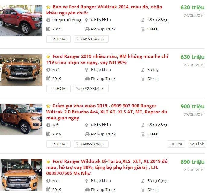 Ford Ranger2019 có khuyến mại gì.