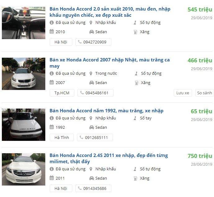 Giá xe Honda Accordbao nhiêu?.
