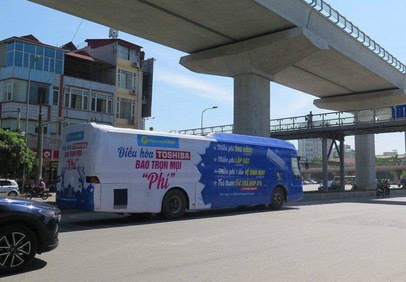 Xe bus, xe khách dán chằng chịt quảng cáo sẽ bị phạt 1a