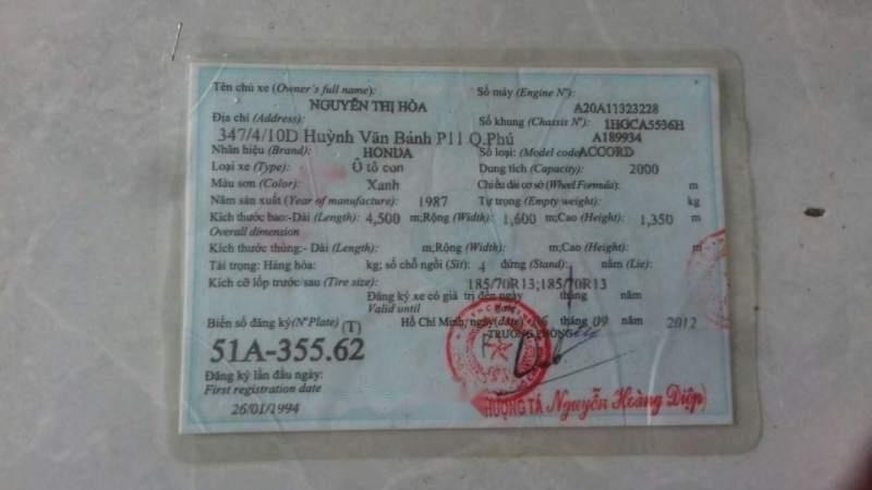 Cần bán xe Honda Accord sản xuất năm 1988, màu xanh lam, nhập khẩu  (3)