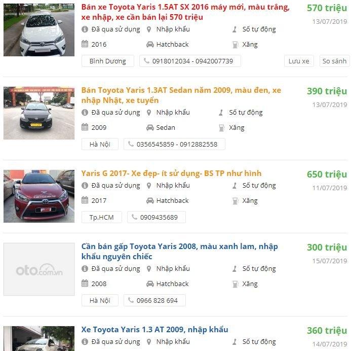 Giá xe Toyota Yaris cũ  2a