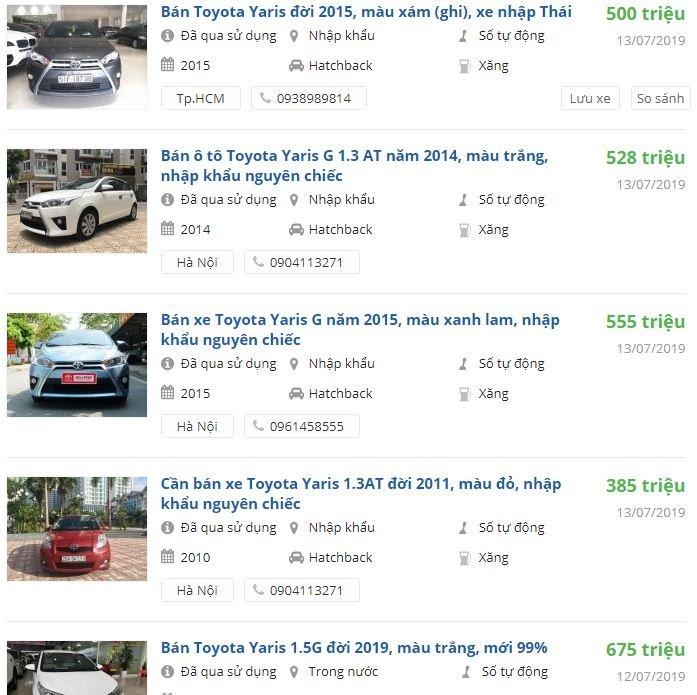 Giá xe Toyota Yaris cũ 1a