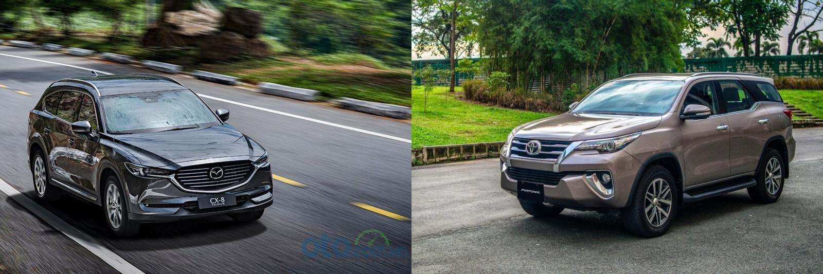 Ảnh chụp xe Mazda CX-8 2019 và Toyota Fortuner 2019