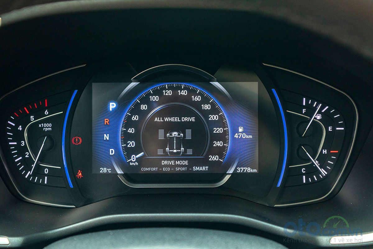 Đánh giá xe Hyundai Santa Fe 2019: Bảng đồng hồ.