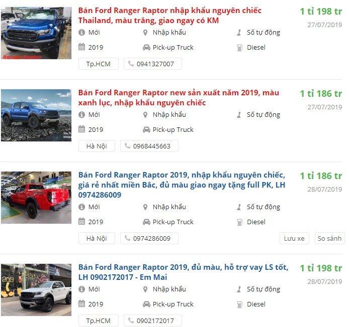 Ford Ranger Raptor 2019 có khuyến mại gì.
