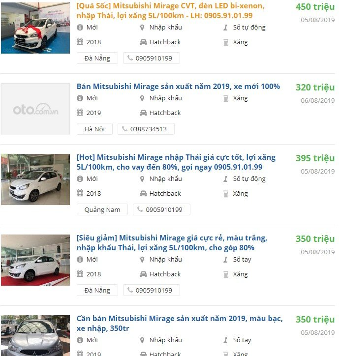 Giá xe Mitsubishi Mirage 2019 tại đại lý 1
