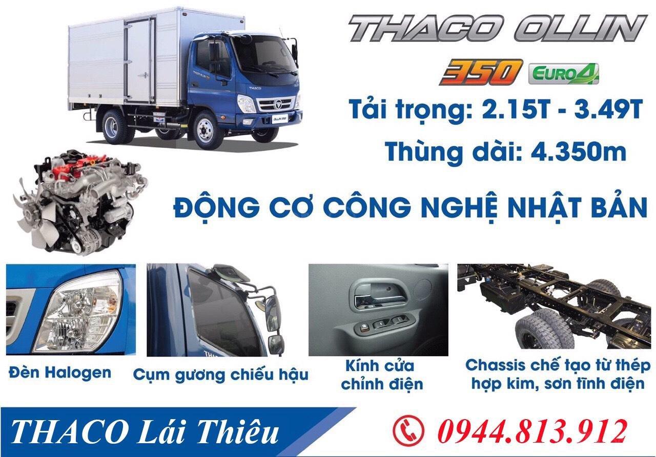 Thaco Ollin Euro 4 Thùng mui bạt 3.5 tấn, động cơ Isuzu đời 2018, trả góp 75% tại Bình Dương - LH: 0944.813.912 (3)
