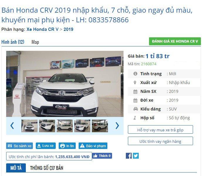 """Giá xe Honda CR-V 2019 tại đại lý tháng 8: Không """"kèm lạc"""", ưu đãi nhẹ - Ảnh 2."""