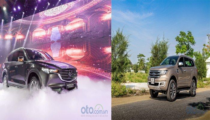 Ảnh chụp xe Mazda CX-8 2019 và Ford Everest 2019