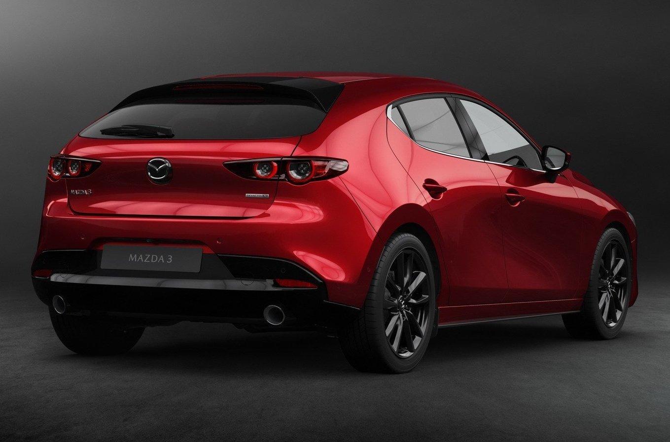 Đuôi xe thể thao của Mazda 3 2019.
