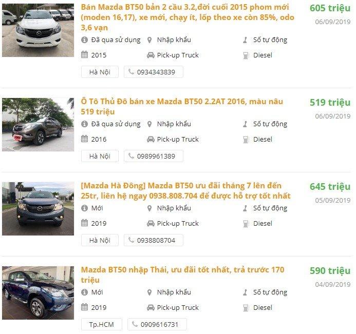 Giá xe Mazda BT 50 2019 A