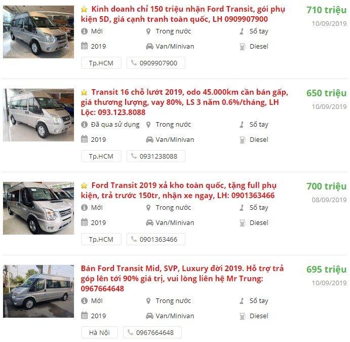 Ford Transit2019 có khuyến mại gì?.