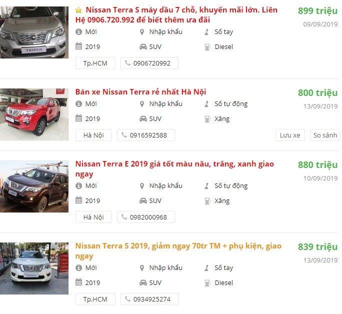 Giá xe Nissan Terra2019 tại đại lý phân phối.