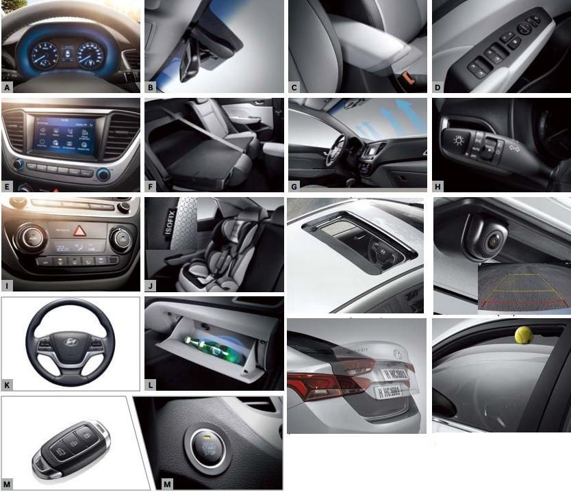 Các trang bị tiện nghi của Hyundai Accent 2019 1