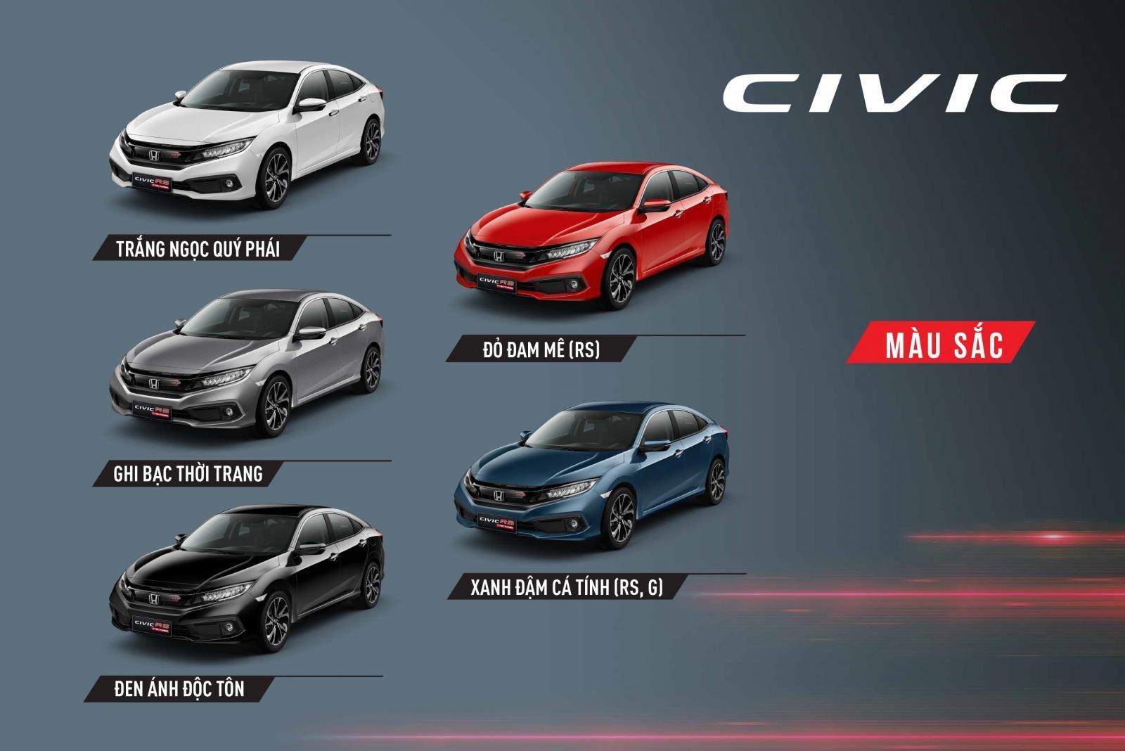 Honda Civic 2019 có mấy màu?.